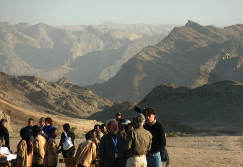 Attendants get ready to dine in the mysterious Namibian Moon Valley, which was close Swakopmund where the Summit was located.