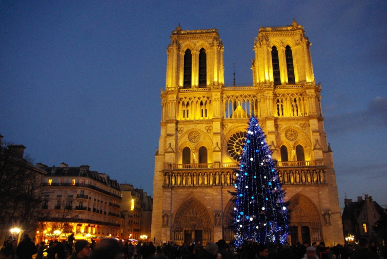 Notre Dame de Paris during Christmas time
