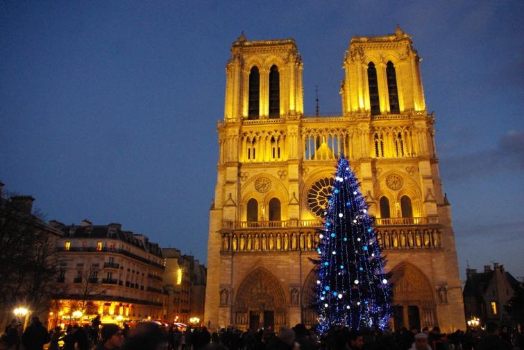 Notre Dame de Paris during Christmas time