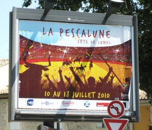 A billboard near the post office advertising La Pescalune!