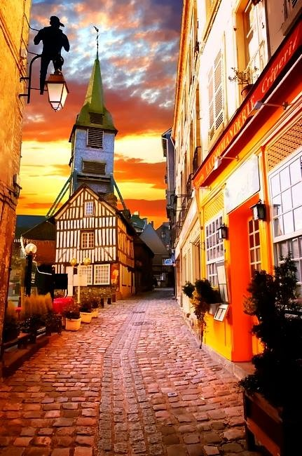 A spooky sunset in Honfleur, a village along the southern bank of the Seine
