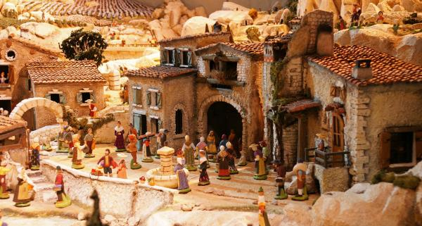 Santons in a nativity scene